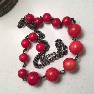 Fun VTG Necklace with Big Red Beads, Plastic/Metal